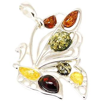 TOC Sterling Silver Large Butterfly Amber Pendant On 18 Inch Chain