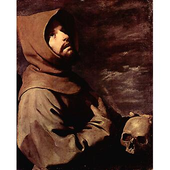 The Ecstacy of St Francis, Francisco de Zurbaran, 50x40cm