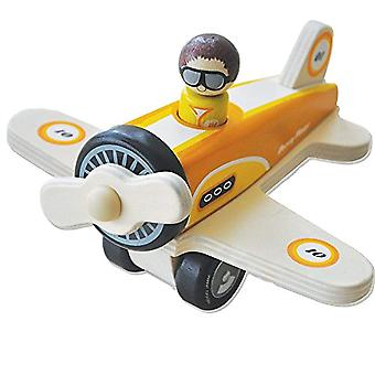 Indigo Jamm Percy Plane, Retro Wooden Toy Aircraft Vehicle with Spinning Propeller and Removable Pilot