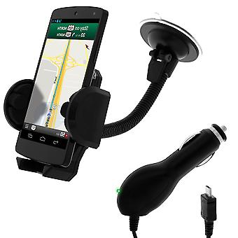 Pack 2 in 1 Car Suppport +  Micro-USB car cigarette socket charger- Black