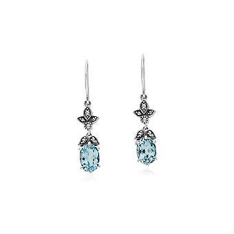 Jugendstil Stil oval blau Topas & Marcasite Tropfen Ohrringe in 925 Sterling Silber 214E861103925