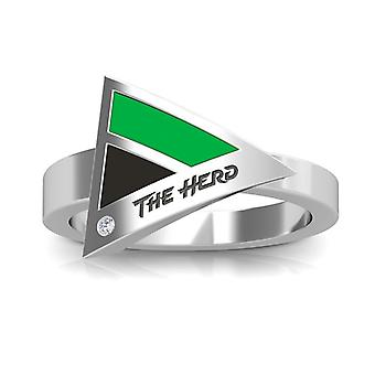 Marshall University Engraved Sterling Silver Diamond Geometric Ring In Green and Black