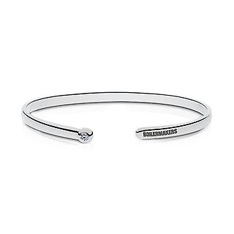 Purdue University indgraveret Sterling Sølv Diamond Cuff armbånd