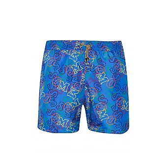 MisSONI Mare Royal Blue Logo Print Shorts