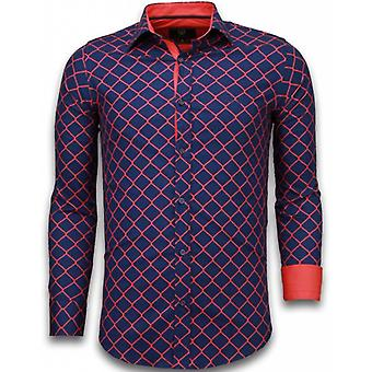 E Shirts - Slim Fit - Wide Wire Fence - Blue