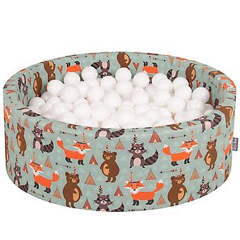 Kiddymoon Baby Ballpit With Balls 7Cm / 2.75In Certified Made In EU, Fox