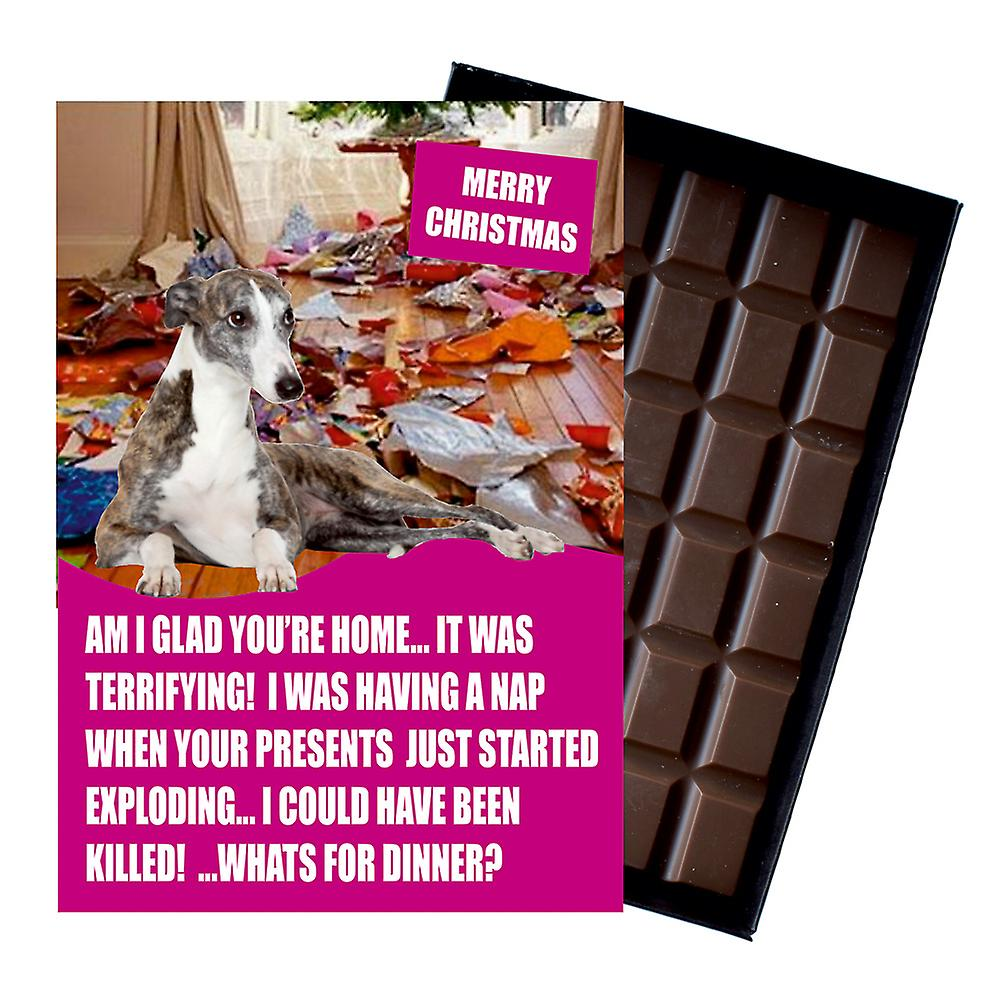 WhippetFunny Christmas Gift For Dog Lover Boxed Chocolate Greeting Card Xmas Present