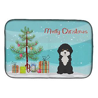 Preto e branco Chipre poodle árvore de Natal prato secagem Mat
