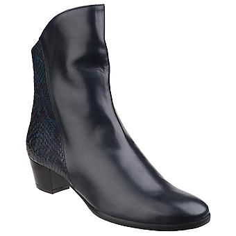 Riva Womens Armadillo Pitone Leather Zip up Ankle Boot Navy