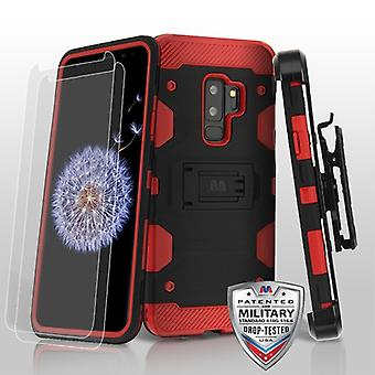 MYBAT zwart/rood 3-in-1 Storm tank Hybrid Protector cover combo (w/holster) (Twin Screen Protectors) voor Galaxy S9 plus