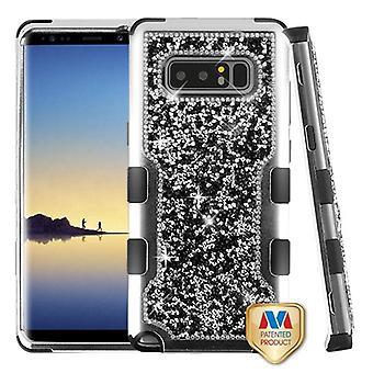 MYBAT zilver plating frame + zwarte mini kristallen terug/zwart TUFF levendige Hybrid Protector cover voor Galaxy Note 8