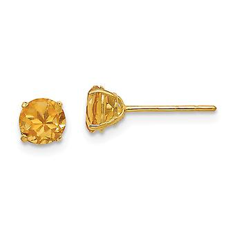 14k Yellow Gold Polished Round Citrine 5mm Post Earrings Measures 5x5mm Wide Jewelry Gifts for Women