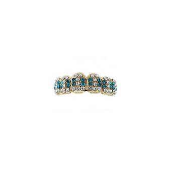 Grillz Guld Multi Ice 66 Points Of Cz Clear N Turquoise Diamonds [top]
