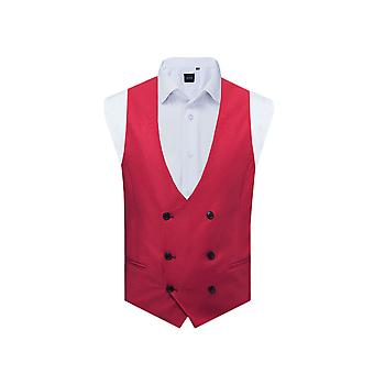 Avail London Mens Raspberry Waistcoat Skinny Fit Double Breasted