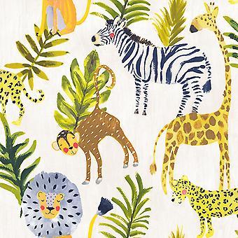 Little Ones Eco Safari Wallpaper Multi GranDeco LO2201