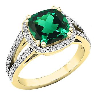 Dazzlingrock Collection 14K 8 MM Cushion Lab Created Emerald & Round Diamond Engagement Ring, Yellow Gold
