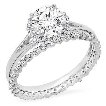 Dazzlingrock Collection 14K Round Moissanite & White Diamond Ladies Halo Bridal Engagement Ring Set, White Gold