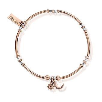 Chlobo Rose And Silver Dainty Moon And Sun Bracelet MBMNCR583