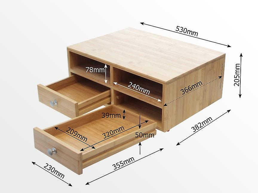 Woodquail Bamboo Printer Stand Holder, Monitor Stand Desk Tidy Organiser with Drawers