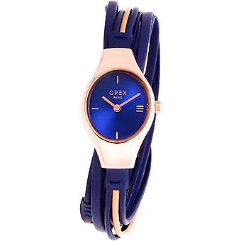 Opex OPW016 Watch - FILANTE Blue Leather Bracelet Bo tier Steel Dor Pink Women