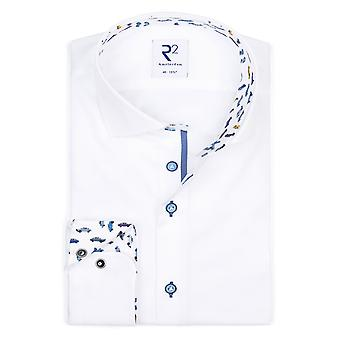 R2 Wide Spread Collar Long Sleeved Shirt White & Car Detail