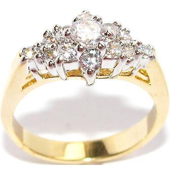 Ah! Jewellery 0.40ct Two Tone Lab ha creato Diamonds Ring. 3,75 mm Centre Stone.