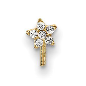 3,5 mm 14k CZ Zirkonia simuliert Diamant Stern Nase Ohrstecker Schmuck Geschenke für Frauen