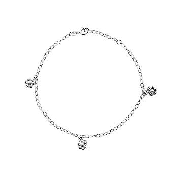925 Sterling Silver Rhodium Plated Oval Rolo Flower Station Anklet 10 Inch Jewelry Gifts for Women
