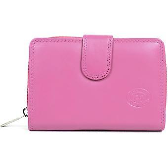 Mesdames / Womens cuir souple grand Bi-Fold de carte de crédit / argent sac à main - Mid Brown
