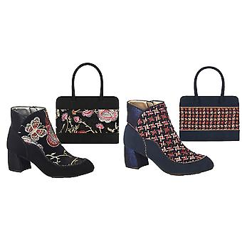 Ruby Shoo Women's Karolina Low Heel Boots & Matching Tulsa Bag