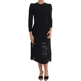 Dolce & Gabbana Black Crystal Embriodered Cat Dress