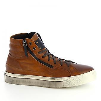 ليوناردو أحذية الرجال & s المصنوعة يدويا أعلى أحذية رياضية عالية تان العجل الجلود الجانب الرمز البريدي
