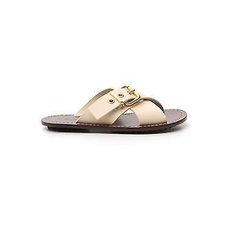 Marni Sams007100lv81700w11 Women's White Leather Sandals