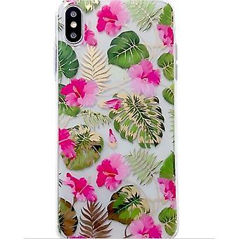 Mobile Schale für iPhone X/XS in schönen Blumenmuster rosa & gold