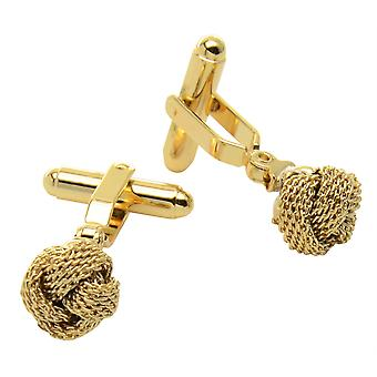 Gold-Tone Men's Cuff Links Classic Love Double Knot Cufflinks