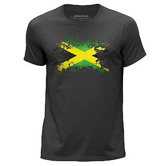 STUFF4 Herren Runde Hals T-Shirt/Jamaica/Jamaika Flagge Splat/Dark Grey