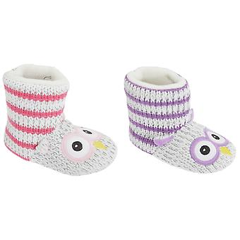 Childrens Girls Knitted Owl Design Slipper Boots