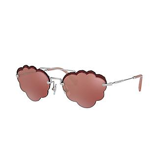 Miu Miu SMU57U 1BC/177 Silver/Pink Mirror-Flash Mirror Sunglasses