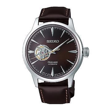 Seiko Uhren Ssa407j1 Presage Silber & Braun Leder automatische Herren Uhr