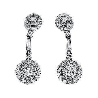 Brincos de diamante - 18K 750/- ouro branco - 2,14 ct. - 2H514W8-1
