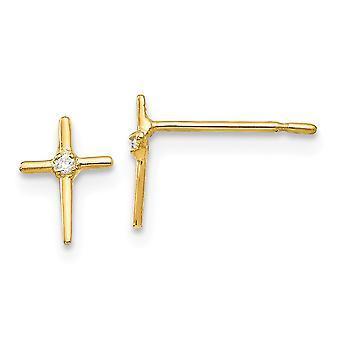 14k Sárga Arany Polírozott Madi K CZ Köbös Cirkónium Szimulált Gyémánt fiúknak vagy lányoknak Vallásos Hit Kereszt Fülbevaló