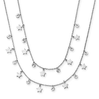 925 Sterling Silver Rh plated Stars and CZ Cubic Zirconia Simulated Diamond Layered With 1.25inch Ext. Necklace 18 Inch