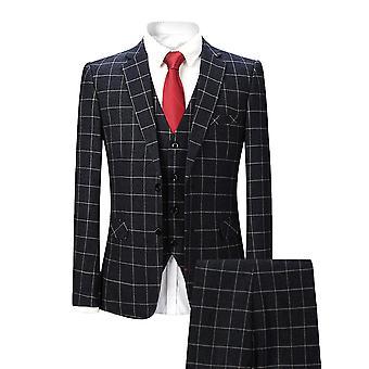 Allthemen miesten musta ruudullinen Slim Fit Business rento 3-osainen puku