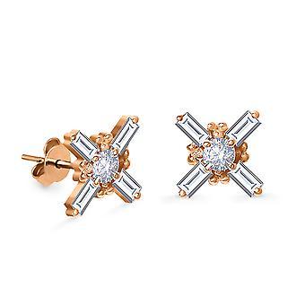 Cercei Baguette Stud 18K Aur și Diamante (Single Piece)