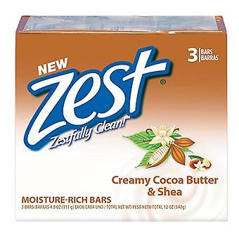 Zest bath bars, cocoa butter & shea, 3 ea