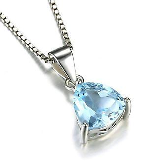 Ice blue genuine topaz trillion cut 2.2ct iobi precious gems pendant necklace