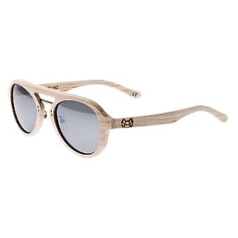 Earth Wood Cruz Polarized Sunglasses - White/Silver