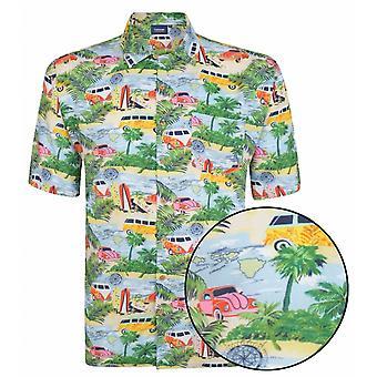 ESPIONAGE Espionage Classic Car And Surf Print Short Sleeve Shirt