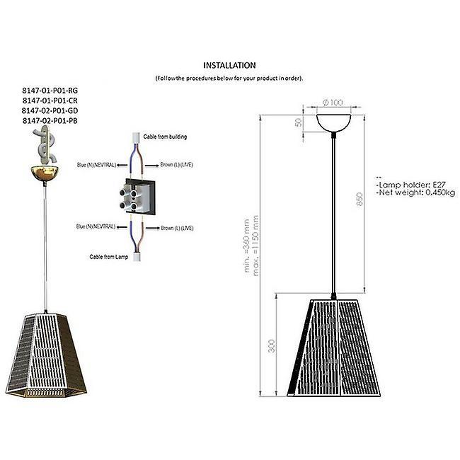 Lampada a Sospensione Binta Colore Cromo, Nero in Metallo, L30xP30xA97 cm