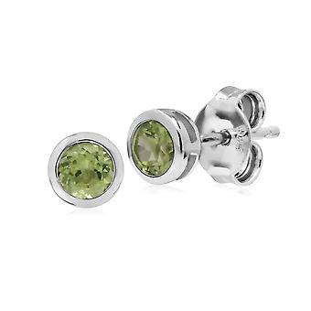 Classic Round Peridot Bezel Stud Earrings in 925 Sterling Silver 270E025808925